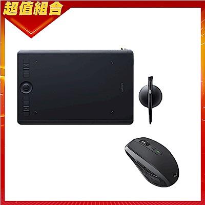 【動漫達人包】Intuos Pro medium 專業繪圖板(PTH-660/K0)+羅技 MX Anywhere 2S 無線滑鼠-黑色
