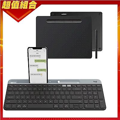 【動漫學習包】Wacom Intuos Comfort Medium 藍牙繪圖板(黑)+羅技 K580超薄跨平台藍芽鍵盤