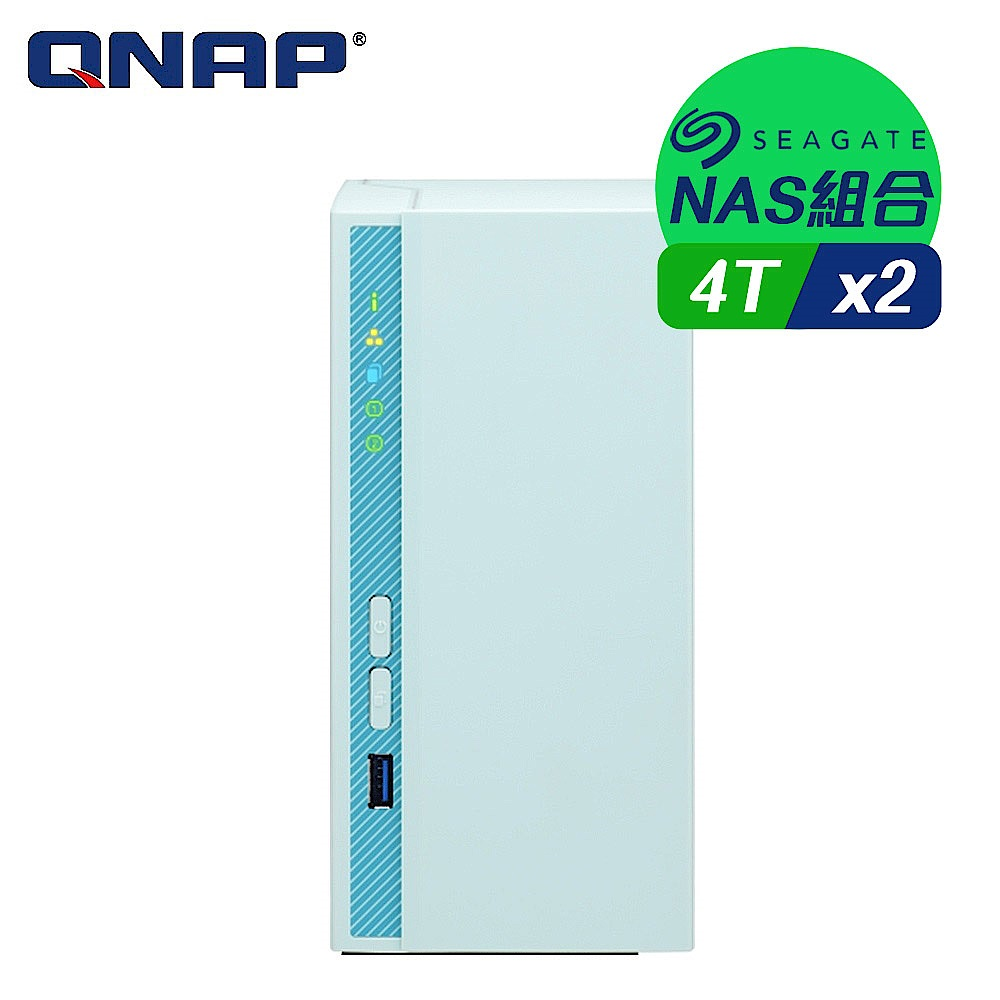 【NAS組合】Seagate 4TB 2入組 NAS硬碟(ST4000VN008)+ QNAP TS-230 網路儲存伺服器 product image 1