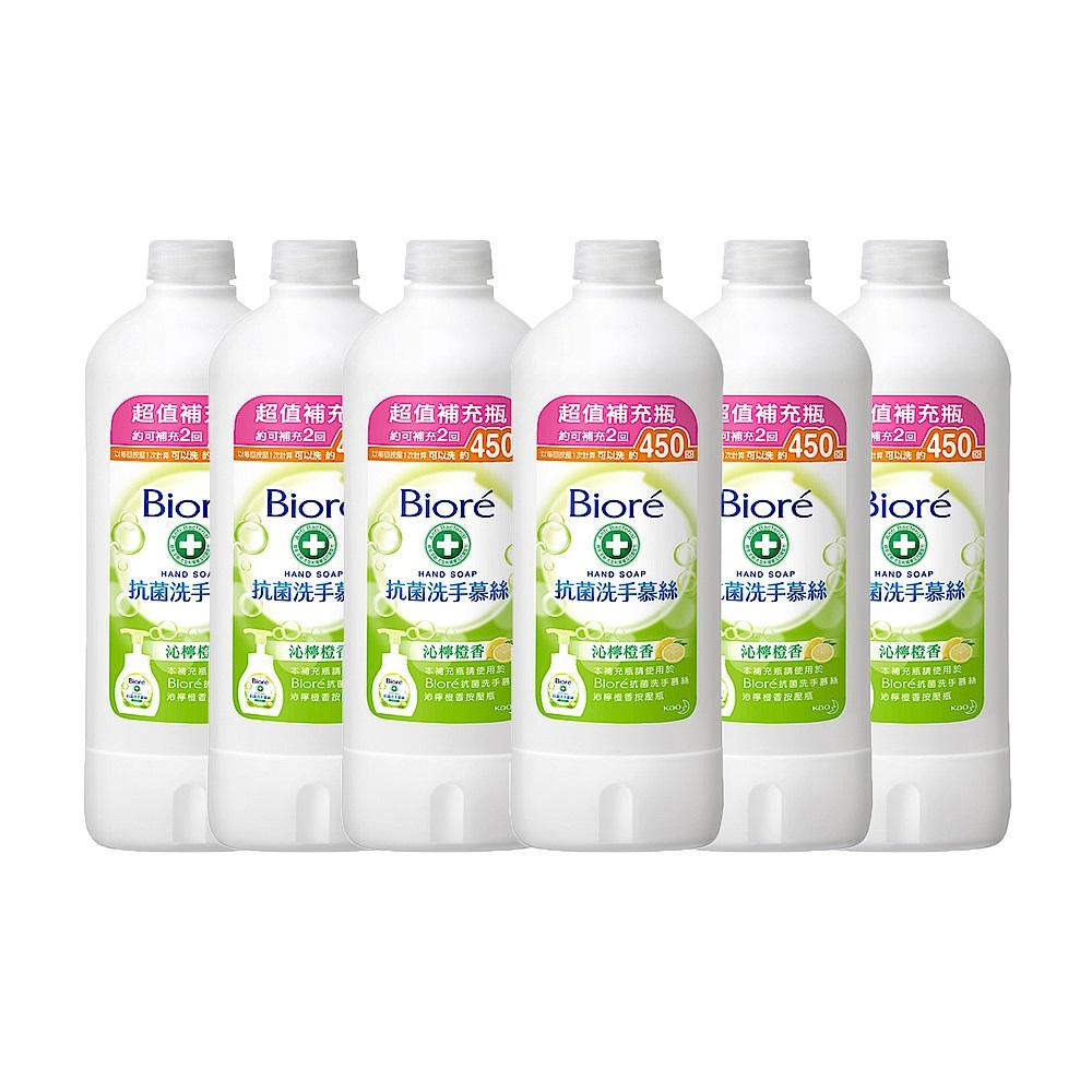 蜜妮 Biore 抗菌洗手慕絲 沁檸橙香補充瓶 6入組(450mlx6) product image 1