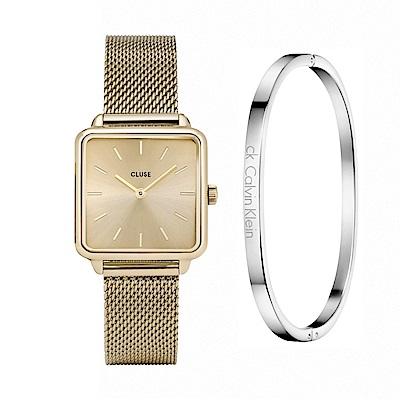 CLUSE 金框方型腕錶/28.5mm+CK經典細緻白鋼手環-S