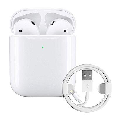 Apple超值組-AirPods搭配無線充電盒+Lightning線(1M+2M)
