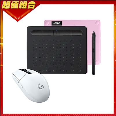 【動漫學習包】Wacom Intuos Comfort Small 藍牙繪圖板(粉紅)+羅技 G304無線電競滑鼠