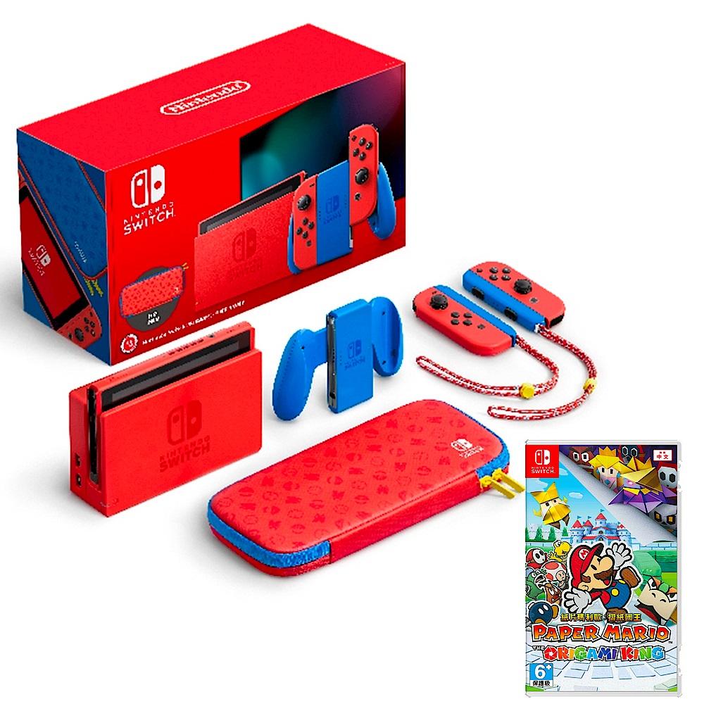任天堂 Nintendo Switch 瑪利歐亮麗紅x亮麗藍 主機+遊戲片組合(台灣公司貨) product image 1