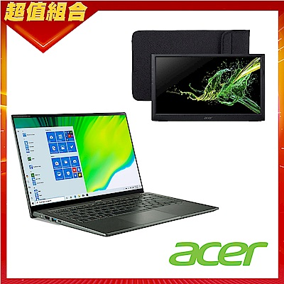 [筆電螢幕組合] Acer SF514-55TA-718E 14吋輕薄筆電(i7-1165G7/16G/512G SSD) + 可攜式15吋IPS電腦螢幕