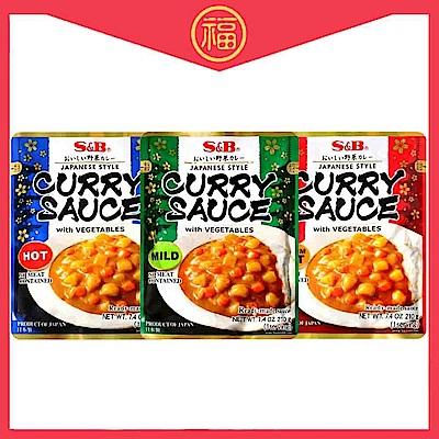 SB S&B蔬菜咖哩調理包3入組