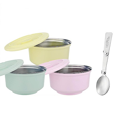 膳魔師不鏽鋼兩用粉彩隔溫碗1.05L(內碗與外碗可分離)加贈折疊湯匙