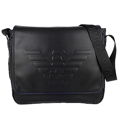 ARMANI 黑色老鷹字樣圖騰仿皮材質大型斜背包