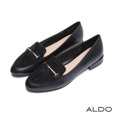 ALDO-原色異材質拼接金屬木紋跟樂福鞋-尊爵黑色