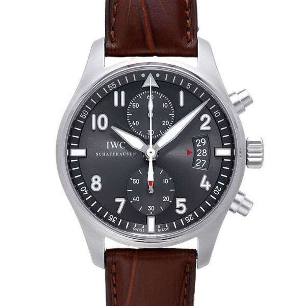 (無卡分期24期) IWC 萬國錶 飛行員噴火戰機計時灰面咖啡限定版x43mm