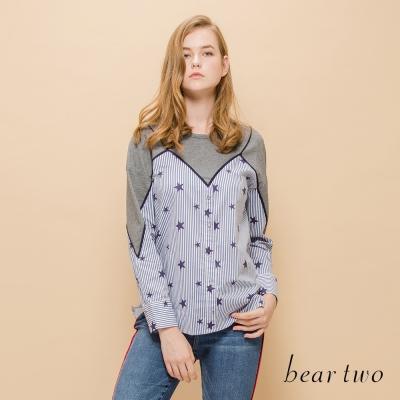 beartwo 假兩件式開襟星星印花上衣(灰色)