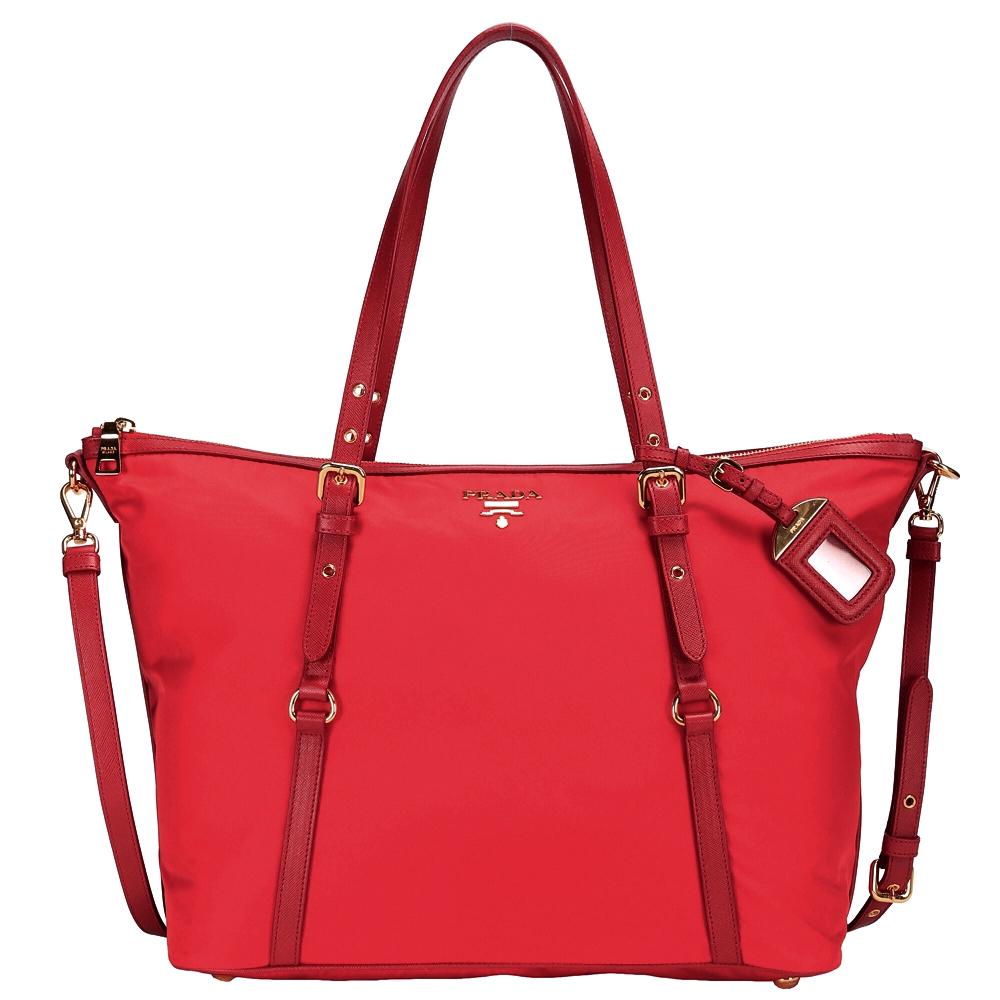 PRADA 雙釦帶尼龍兩用購物包(中/紅色)