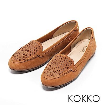 KOKKO - 夏日清新雕花真皮平底莫卡辛休閒鞋-大地棕