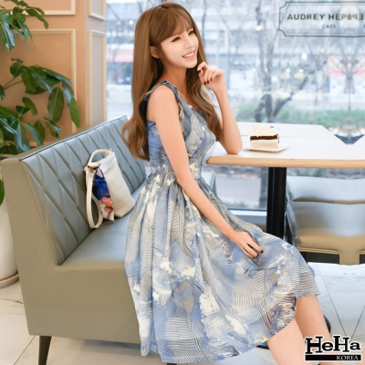 洋裝 混色綁帶雪紡中長連身裙 藍色-HeHa