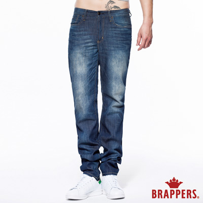 BRAPPERS 男款 HM中腰系列-男用中腰中直筒褲(加大版)-中藍
