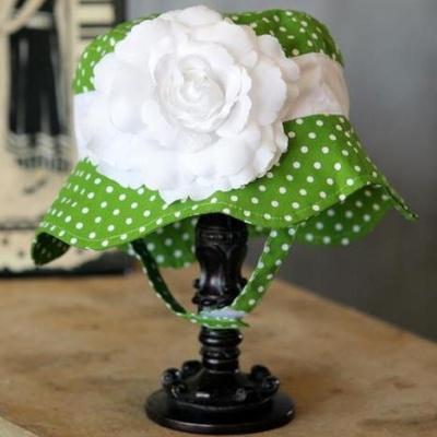 【Fancy That Hat】時尚淑女花朵防曬帽-草綠底白點點(3m-4T)
