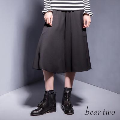 beartwo-自然垂墜感造型寬褲-黑色