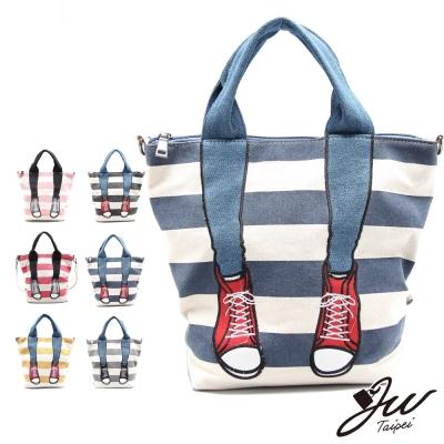 JW-後背包-長腿愛穿鞋帆布三用後背包-共六色