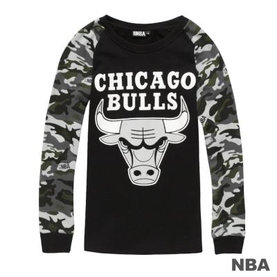 NBA-芝加哥公牛隊迷彩袖長袖厚T恤-黑-女