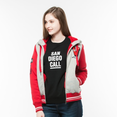 Hang Ten - 女裝 - 復古刷毛棒球外套 - 紅灰