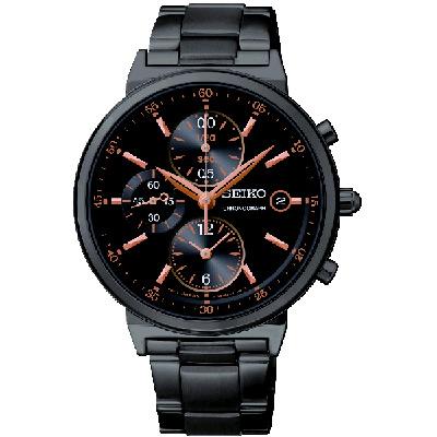 SEIKO 精工質感動人金采三眼計時腕錶(SNDW47P1)-黑/36mm
