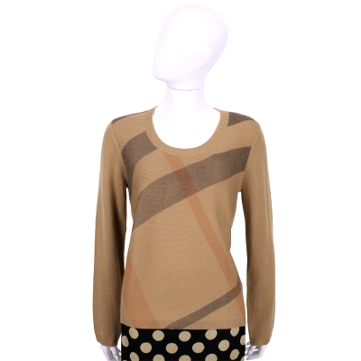 BURBERRY 駝色格紋羊毛喀什米爾長袖針織衫(87%WOOL)