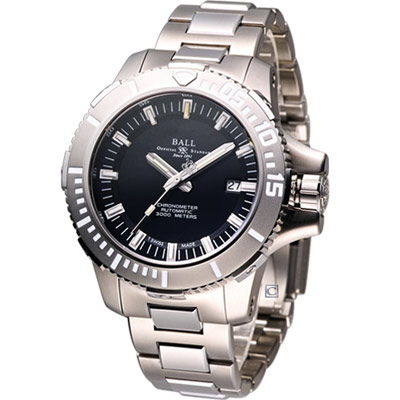 BALL 工程師 DeepQUEST 鈦深潛系列3000米潛水機械錶-黑/46mm