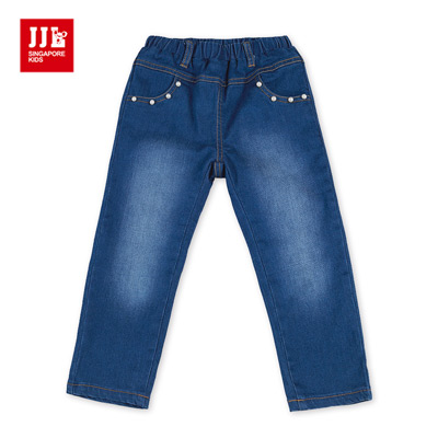 JJLKIDS 華麗珍珠內刷毛牛仔褲(彩藍)