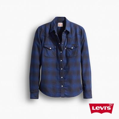 女款純綿修身長袖襯衫-藍色-Levis