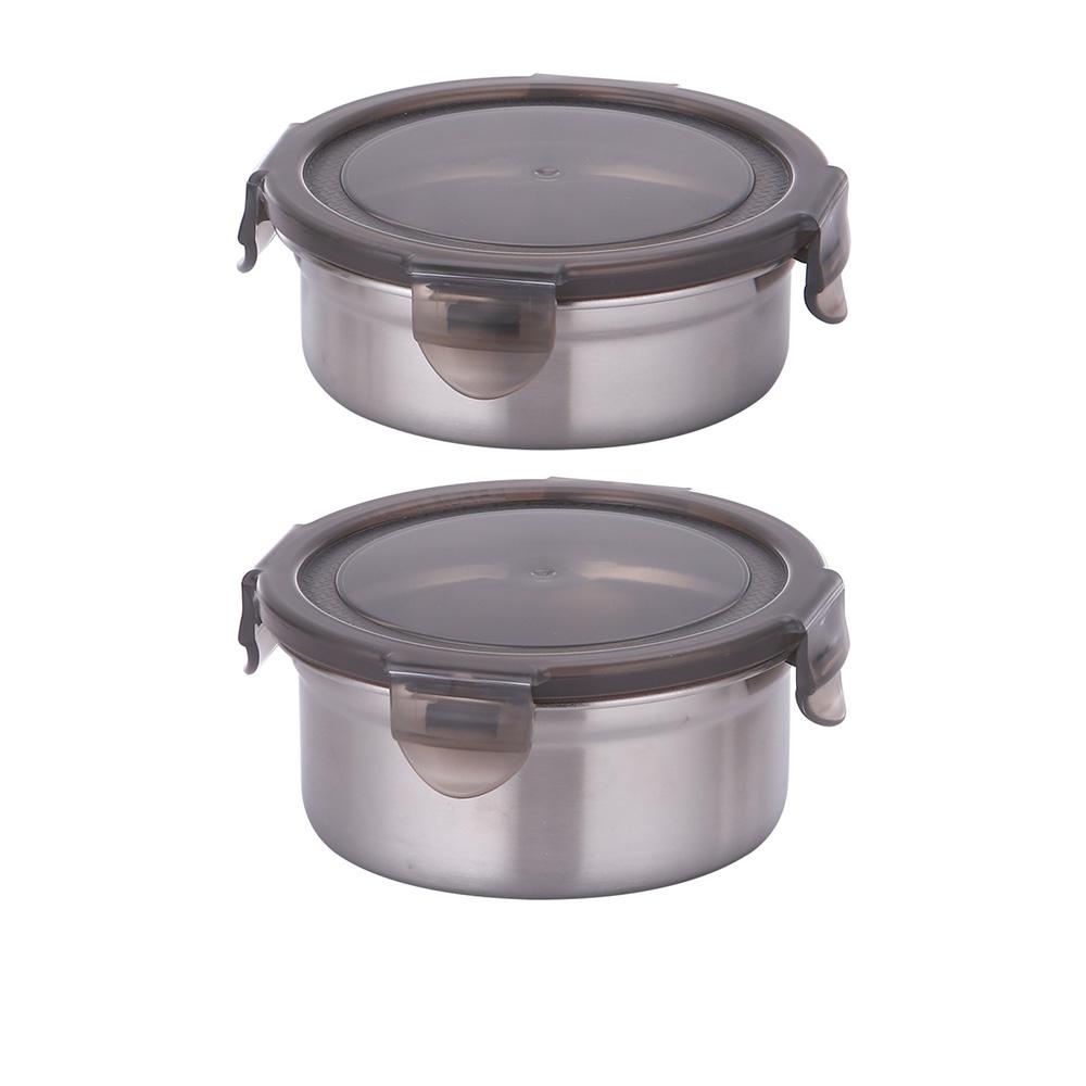 韓國Metal lock 圓形不鏽鋼保鮮盒2入組(320ml 460ml)