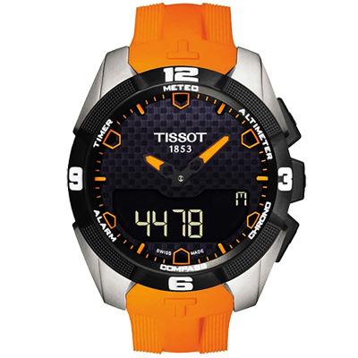 TISSOT T-TOUCH EXPERT 鈦金屬太陽能觸控腕錶-黑x橘色錶帶/45mm