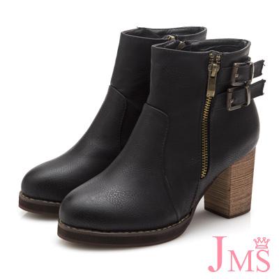JMS-造型軍裝感雙扣環拉鍊高跟短靴-黑色