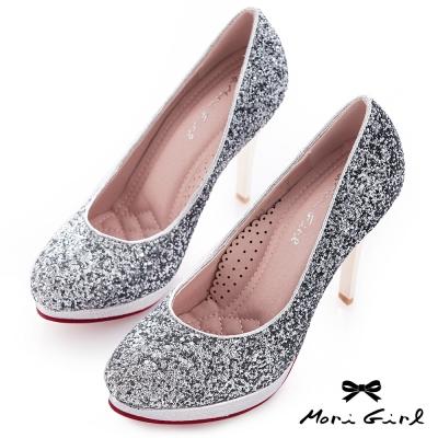 Mori girl夢幻公主-漸層亮片華麗風婚鞋 黑