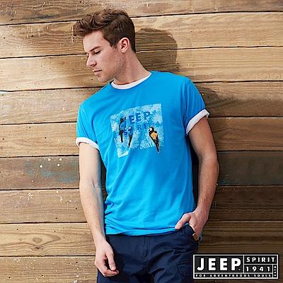 JEEP 叢林冒險印花短袖TEE-藍色