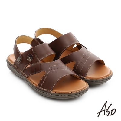 A.S.O 輕量樂活 真皮可調式後帶涼拖鞋 茶色