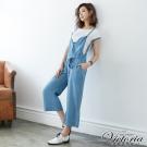 Victoria 天絲棉吊帶七分寬褲-女-淺藍
