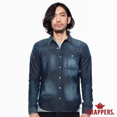 BRAPPERS 男款 牛仔上衣系列-男用長袖牛仔襯衫-藍
