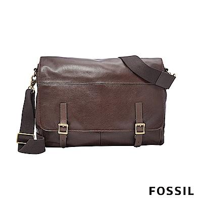 FOSSIL DEFENDER 真皮商務側背包-深咖啡色