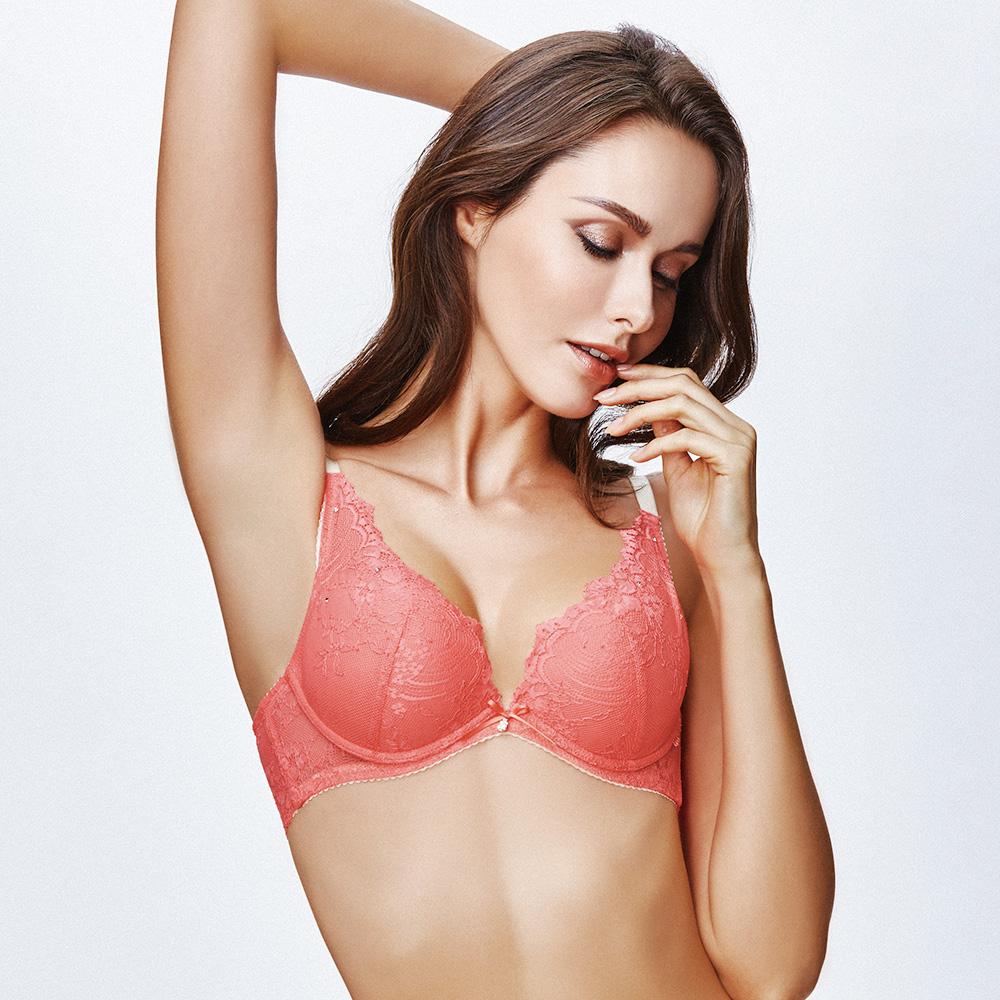 La Felino- 蘇珊娜一體成形深V泡棉款B-E罩杯內衣 (淡雅紅)