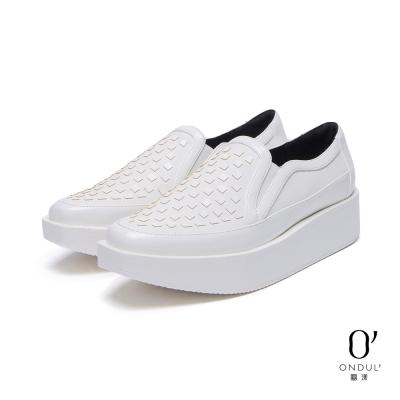 達芙妮x高圓圓-圓漾系列-休閒鞋-小方塊裝飾厚底懶人鞋-白8H