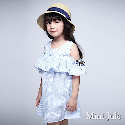 Mini Jule 童裝-洋裝 直條紋荷葉露肩短袖洋裝(藍)