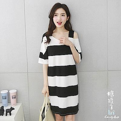 糖罐子-韓品 寬條單肩吊帶洋裝(黑白)
