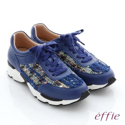 effie  輕量抗震 真皮拼接綁帶奈米健走運動鞋 藍色