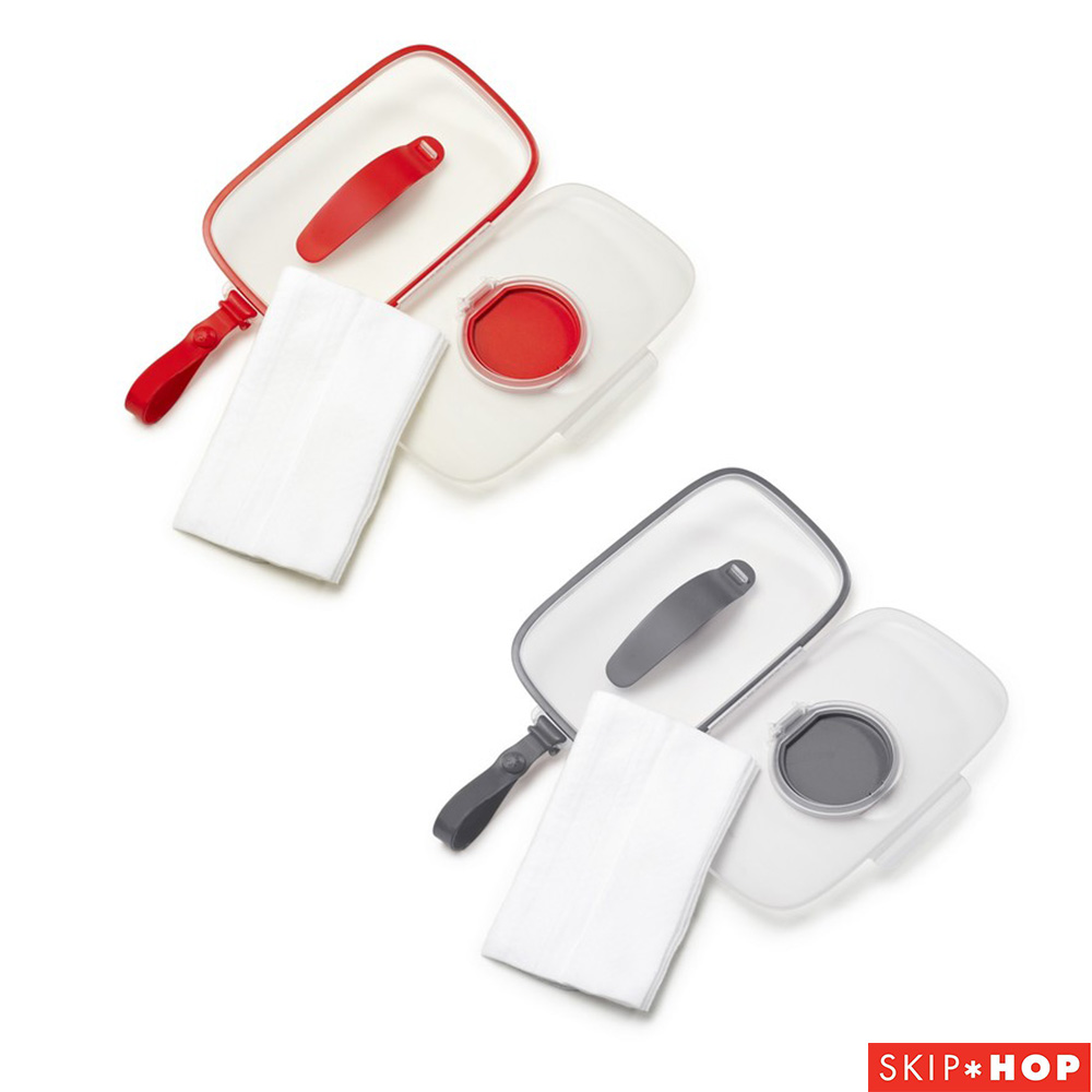Skip Hop 隨行密封濕紙巾盒(紅/灰)