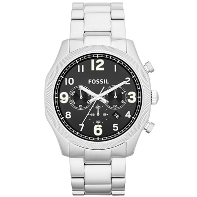FOSSIL 鋼鐵力士三眼計時碼錶-黑/45mm