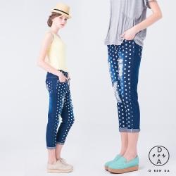 ORENDA-俏皮點點破損抽繩丹寧褲-藍