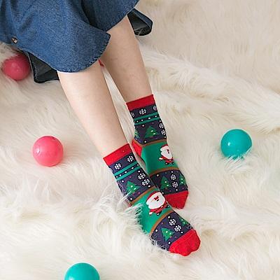 北歐風聖誕圖樣百搭短襪.5色-OB大尺碼