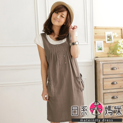 日系小媽咪孕婦裝。胸前壓折排釦假二件洋裝