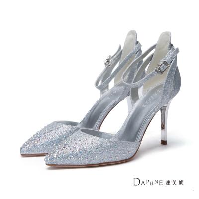 達芙妮DAPHNE-高跟鞋-水鑽金蔥交叉踝帶中空尖頭鞋-銀