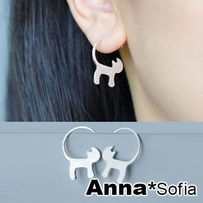 AnnaSofia 長捲尾俏貓拉絲感 925純銀耳針耳環